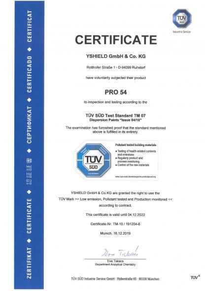 YShield PRO54 Test Certificate